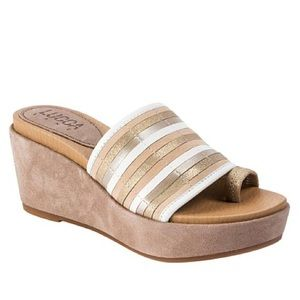 Lucca Lane Leanore Striped Leather Wedge Slide 10